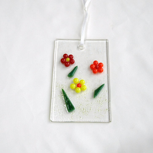 Red, Orange, and Yellow Raised Dot Flower Suncatcher