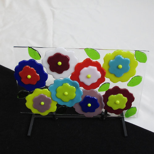 Multi-Colored Flower Art on Stand