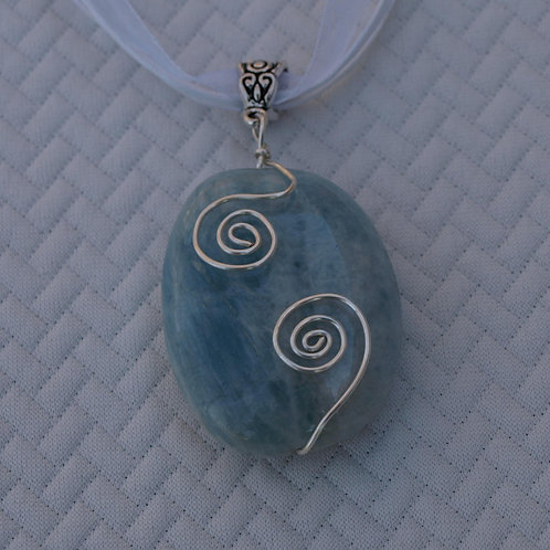 Blue Beryl Necklace - handmade with natural stone