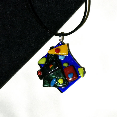 Modern Blue Green Yellow Glass Necklace