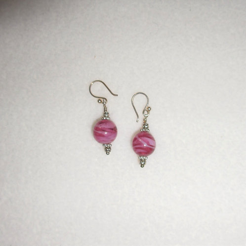 Pink and White Variegated Earrings
