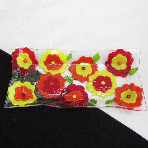 Red, Yellow, and Orange Flower Platter