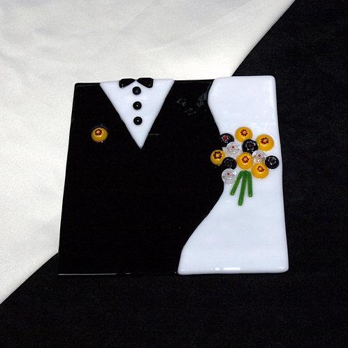 Wedding Plate - Yellow Black White
