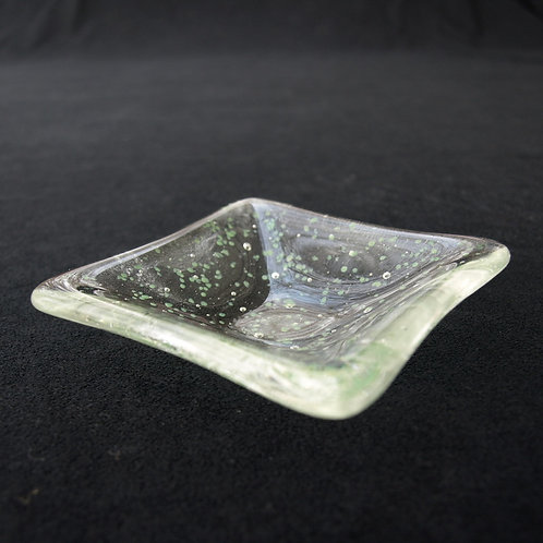 Decorative Green and Clear Speckled Plate