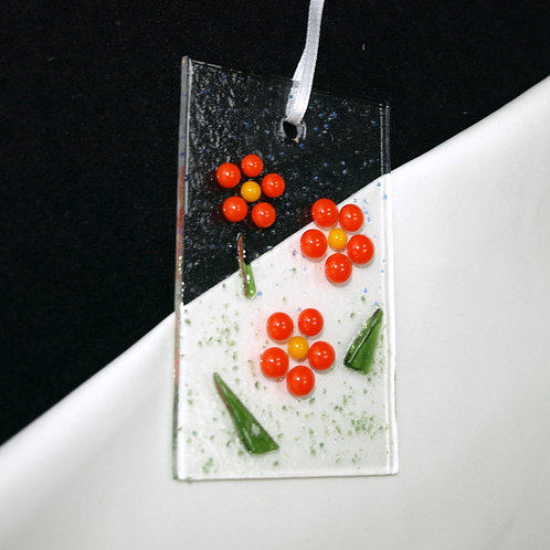 Orange Raised Dot Flower Suncatcher