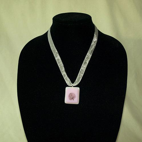 Leaf Veins On Pink Necklace