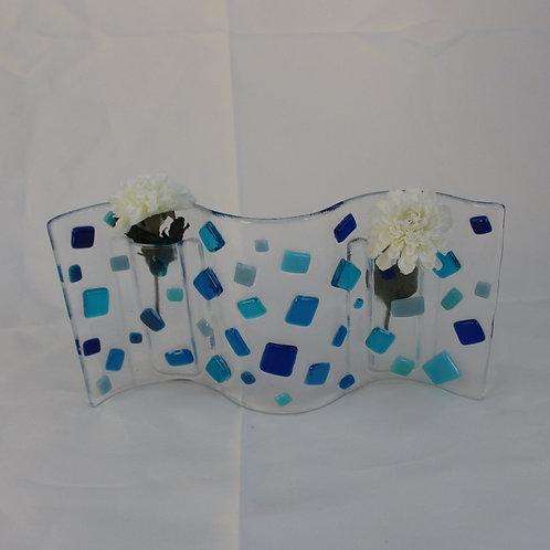 Random Blues Wavy Vase