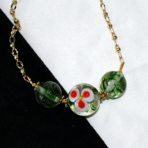 Red Three-Petal Flower Lampwork Glass Necklace