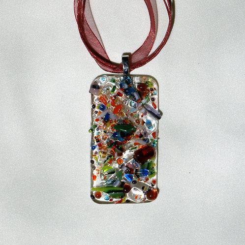 Art Glass Pendant with Multi-colored Mini-pieces