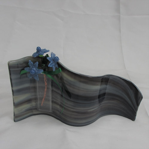 Brown Swirl Wavy Vase