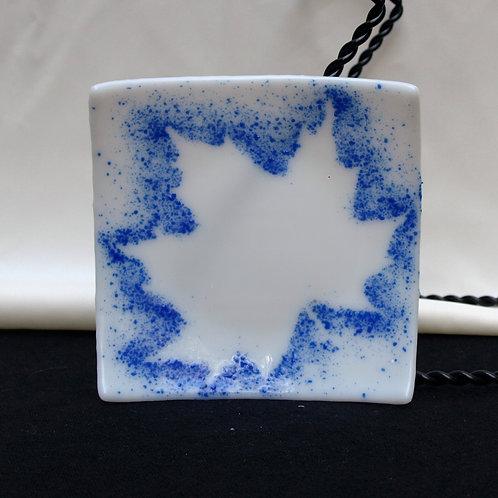Bright Blue Maple Leaf Trinket Plate