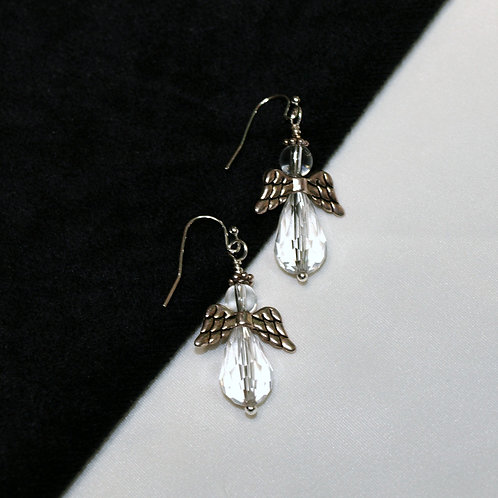Clear Crystal Angel Earrings