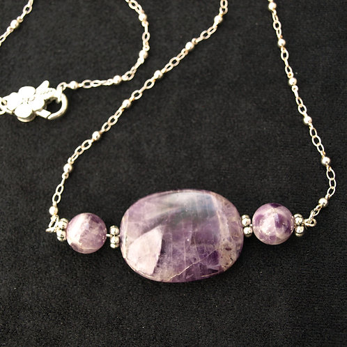 Cape Amethyst Necklace - handmade of natural stone