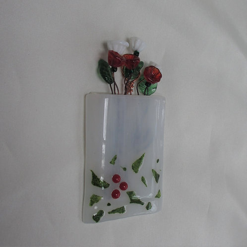 Mini-Vase with Abstract Holly and Berries