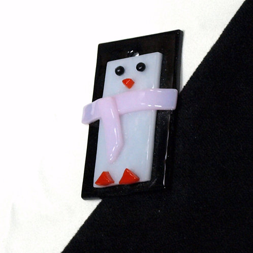 Penguin Ornament with Pink Scarf