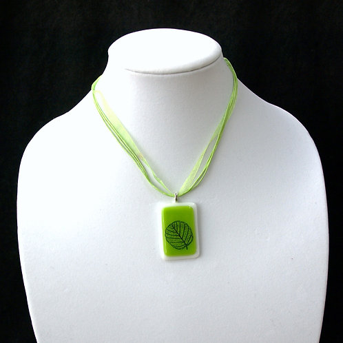 Bright Green Fused Glass Leaf Silouhette Necklace