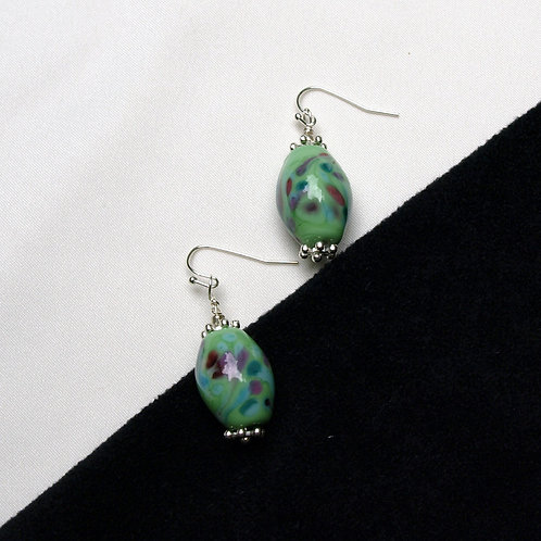 Glass Blue-Green Earrrings with Multi-colored Accents