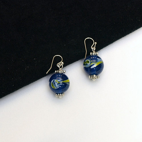 Blue Glass Earrings with Yellow and White Swirls