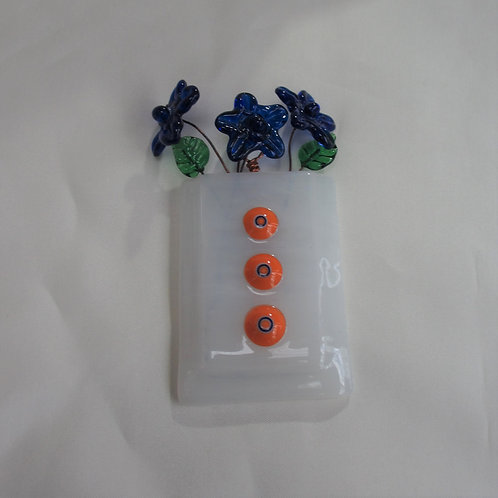 Mini-Vase with Orange and Blue Milliflori