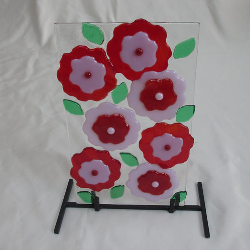 Pink and Red Flower Art on Stand