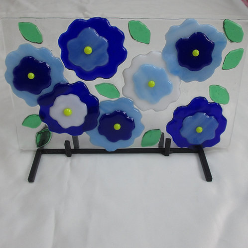 Mixed Blue Flower Art on Stand