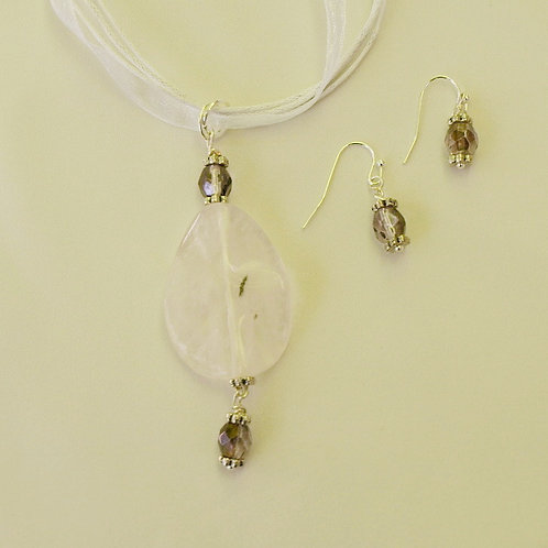 Pink Quartz and Crystal - Necklace and Earring Set