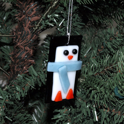 Penguin Ornament with Light Blue Scarf