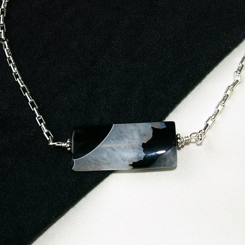 Quartz Crystal and Black Agate Necklace