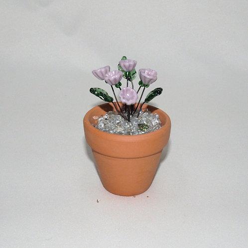 Mini Flower Pot with Pale Purple Flowers