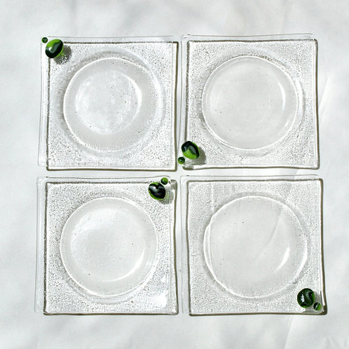 Clear with Green Swirls Fused Glass Coaster Set