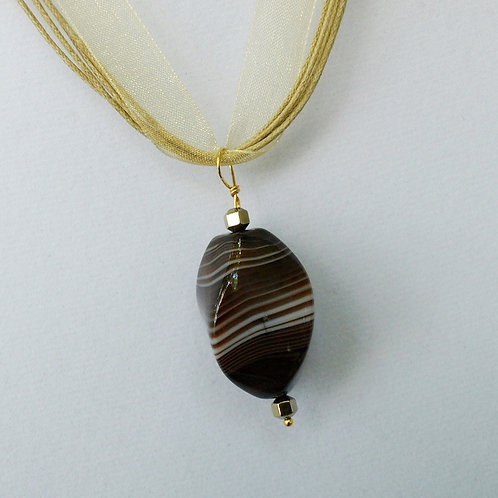 Striped Natural Agate Necklace