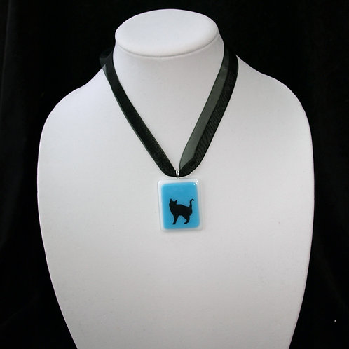 Cat Silhouette on Turquoise Fused Glass Necklace