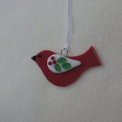 Red Bird with Holly Wing