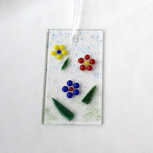 Yellow, Red, and Blue Raised Dot Flower Suncatcher