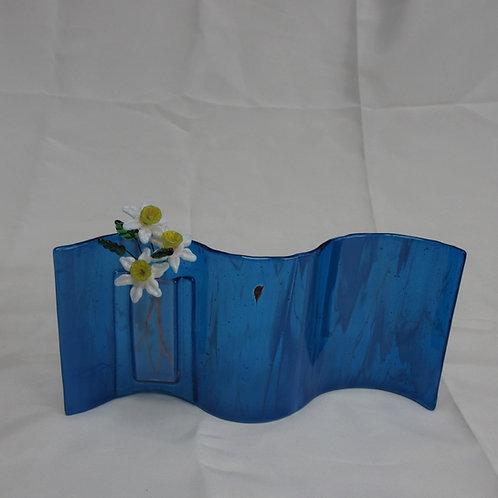 Medium Blue Wavy Vase