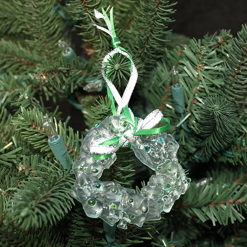 Sugar Cookie Inspired Glass Wreath Ornament - Grn