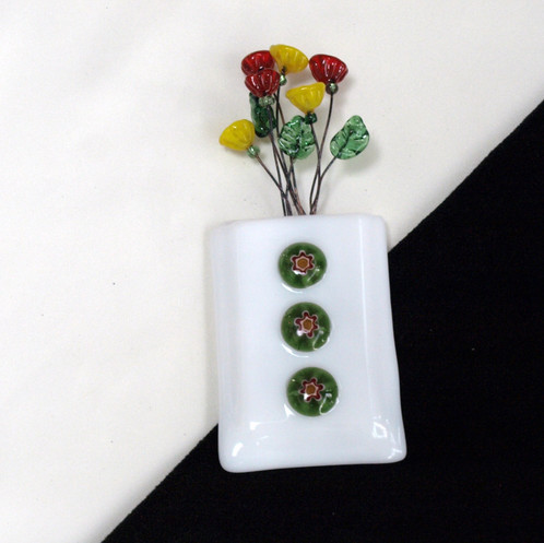 Magnetic Wall Pocket Vase With Milliflori And Multi Colored Flowers