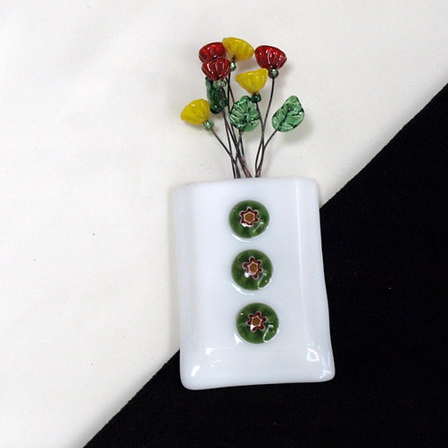 Magnetic / Wall Pocket Vase with Milliflori Flowers