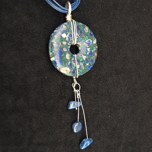 Blue/Green Stone Donut Necklace