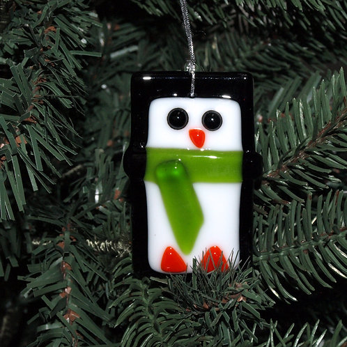 Penguin Ornament with Green Scarf