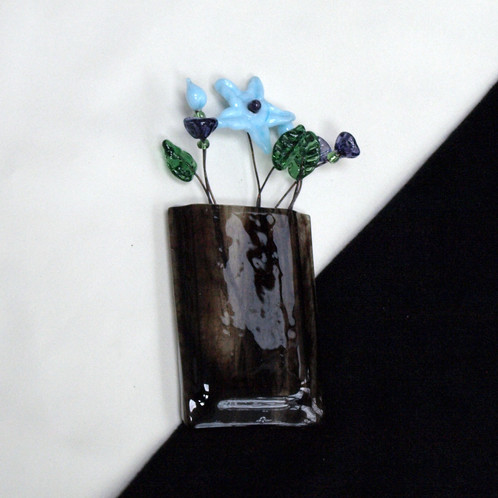 Magnetic Wall Pocket Vase Of Brown Swirl Glass With Blue And
