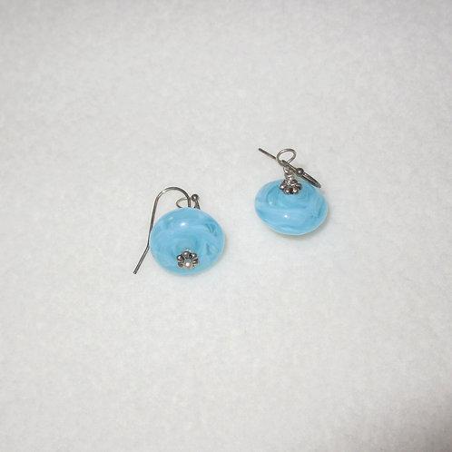 Lampwork Glass Baby Blue Earrings
