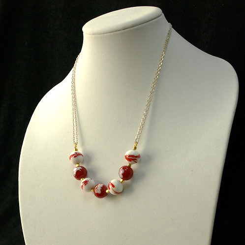 Red and White Swirls Lampwork Necklace