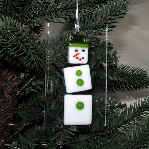 Snowman with Bright Green Hat