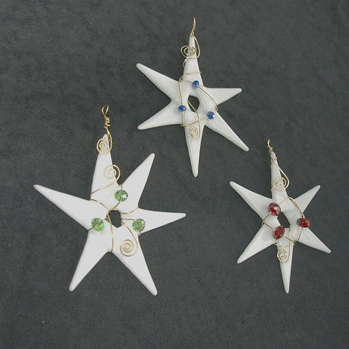 Fused Glass Star Ornament or Suncatcher with Beads
