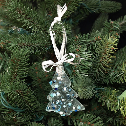 Sugar Cookie Inspired Glass Tree Ornament - Blue