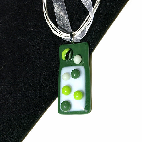 Dotty Green Fused Art Glass Necklace