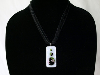 Swirly Glass Pieces - Fused Glass Necklace completed