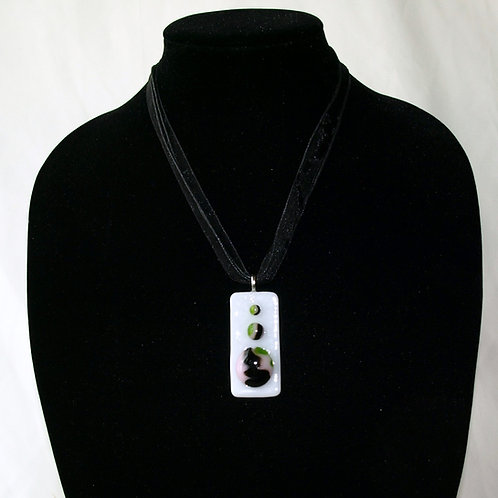 Pink and Green Swirly Fused Glass Necklace