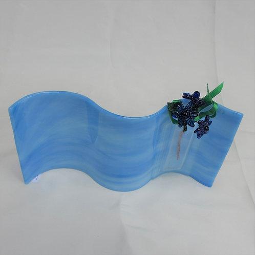 Blue Swirls Wavy Vase